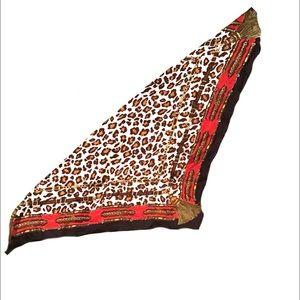 """Leopard Print Scarf 30"""" sq Red,Black,Tan.Gold,"""